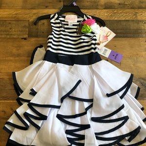 Biscotti  navy and white dress